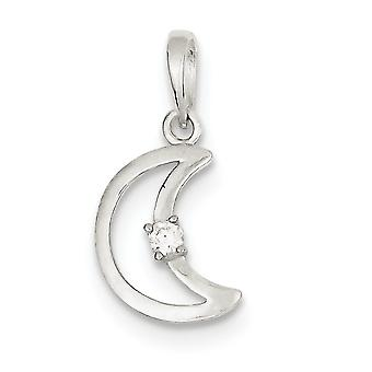 925 Sterling Silver Flat dos texturé dos texturé et CZ Cubic Zirconia Simulated Diamond Polished Celestial Moon Pendant Neck