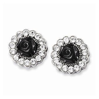 Plata tono flores negras y cristal claro post pendientes de joyería regalos para las mujeres