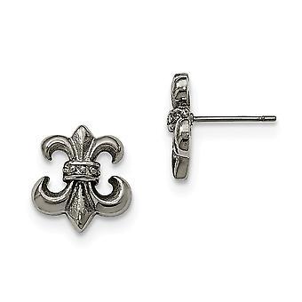 Stainless Steel Polished Fleur De Lis Post Earrings