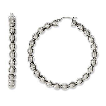 Stainless Steel Polished Textured Hollow Hoop Boucles d'oreilles Bijoux Bijoux pour les femmes