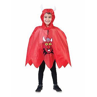 Roter Teufel Poncho Kinderkostüm Kapuzenumhang Kostüm Kinder Einheitsgröße Karneval Halloween Devil