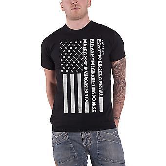 Malcolm X T Shirt Freedom Flag Mission Statement Logo Official Mens New Black