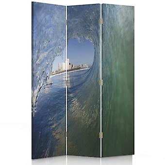 Room Divider, 3 Panels, Double-Sided, 360 ° Rotatable, Canvas, Wave Overlooking The City