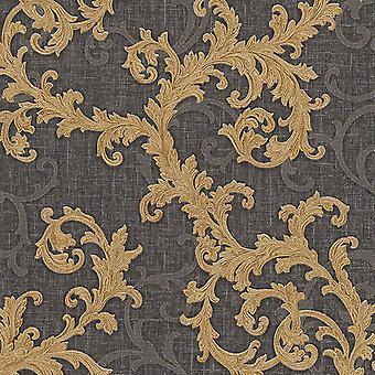 Versace barock blommig Trail tapet-svart och guld-96231-6-10M x 70cm