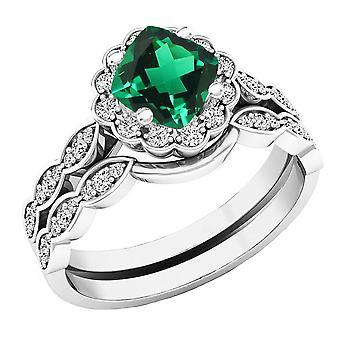 Dazzlingrock Collection 14K 5.5 MM Cushion Lab Created Emerald & Round Diamond Ladies Ring Set, White Gold
