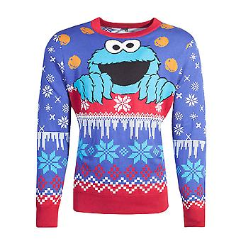 Sesame street Christmas Jumper Cookie monster Logo Knitted new Official Unisex