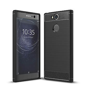 Kit Me Out TPU gel Case kompatibel med Sony Xperia XA2 borstad kolfiber effekt stötsäker tålig skyddande skydd Cover