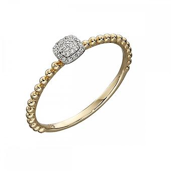 Elements Gold Yellow Gold Bobble And Diamond Pave Cushion Ring GR539