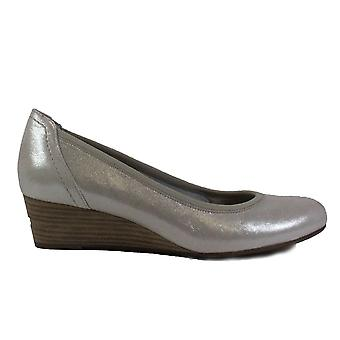 Tamaris 22320 Silver Leather Womens Slip On Wedge Shoes