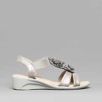 Dr Keller Kiara Ladies Wedge Heel Sandals Pewter
