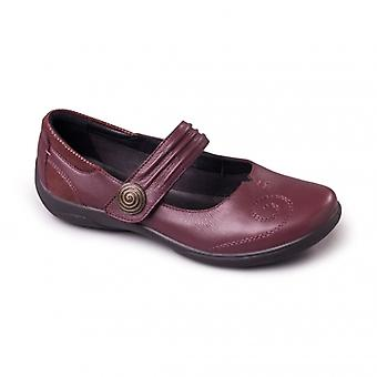 Padders Poem Ladies Leather Extra Wide (2e/3e) Mary Jane Shoes Burgundy