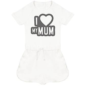 I Love My Mum Black Outline Baby Playsuit