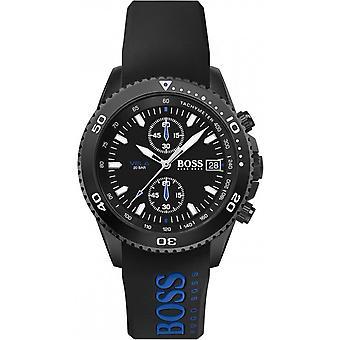 Hugo Boss horloge 1513776-Vela Chrono geval zwarte stalen wijzerplaat zwarte siliconen armband zwart mannetje