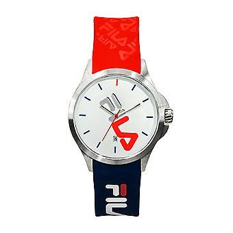 Assista Fila 38-181-005 - Quartzo com data de aço inoxidável redonda caso branco dial Azul e silicone vermelho masculino / fêmea