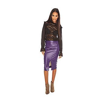 Goddiva Faux Leather Midi Skirt