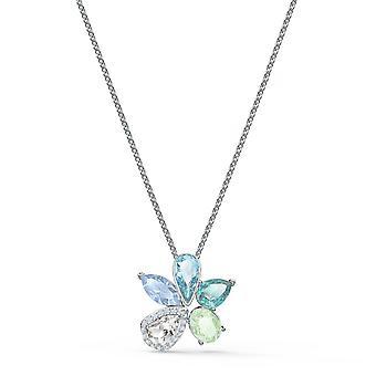 Swarovski halsband 5518414-silver blomma halsband set vit och blå kristaller kvinnor