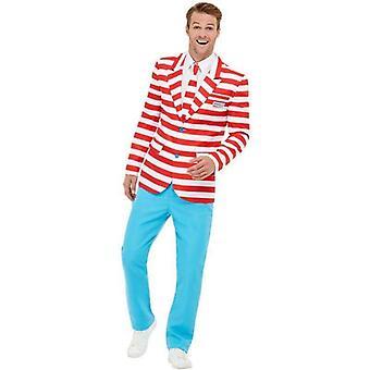 Waar ' s Wally? Suit volwassen rood/wit