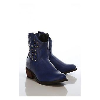 Vintage stil blå studded cowboy støvler
