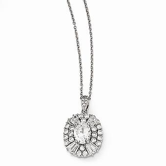 Cheryl M 925 Sterling Silver CZ Cubic Zirconia Simulated Diamond Necklace 18 Inch Jewelry Gifts for Women