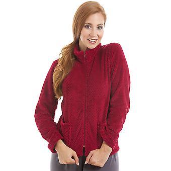 Camille Womens Zip anteriore Borgogna morbido pile letto giacca