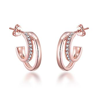 Rose gold open double hoop earrings created with swarovski® crystals