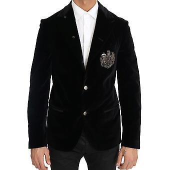 Dolce & Gabbana Black Velvet Royal Crown Blazer