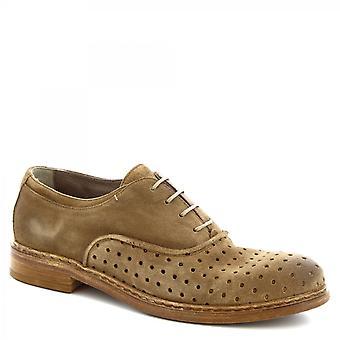 Leonardo Shoes Męskie i apos;ręcznie sznurowane buty z beżowej ażurowej skóry zamszowej