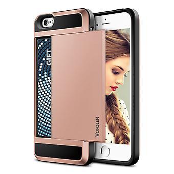VOFOLEN iPhone SE - Wallet Card Slot Cover Case Business Pink