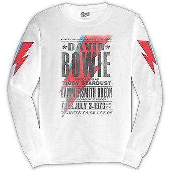 Blanco David Bowie manga larga Martillo Smith Odeon camiseta oficial camiseta hombres unisex