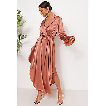 Satin Long Sleeve Midi Dress