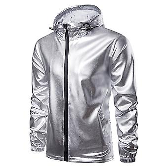 Allthemen Men's Hooded Jacket Glossy Outwear Coat Lined with Velvet