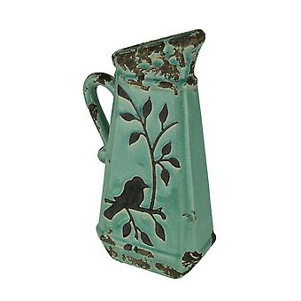 Turquoise Blue Ceramic Crackle Glaze Vintage Finish Bird On Branch Decorative Pitcher