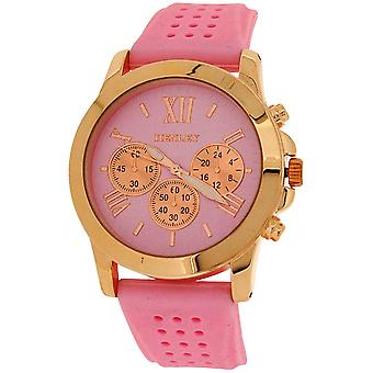 Henley Ladies Analogue Chrono effect Dial Pink Rubber Strap Watch H06099.5