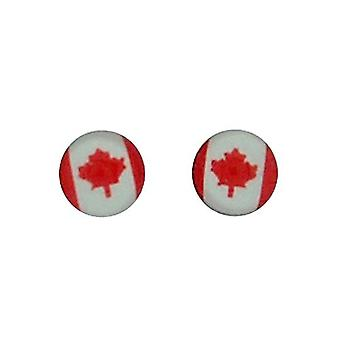 TOC Sterling Silver Round Canadian Flag Stud Earrings 5mm