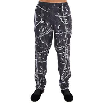Gray monkey print silk pajama pants