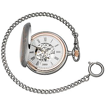 JOBO pocket watch skeleton with chain manual winding bicolor 2 jump lid