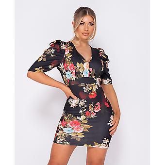 Floral Print Puffed - Bodycon Mini Dress - Black