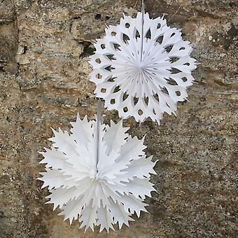 Paper Snowflake Fan Decorations x 2 Large White Christmas Decoration