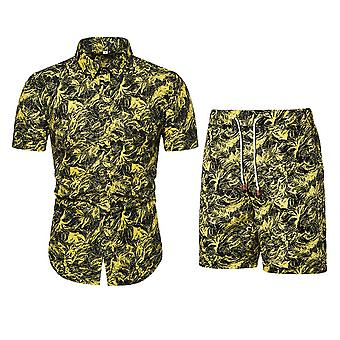 Allthemen Men's Fashionable Youth Printed Short-Sleeved Shirt Suit