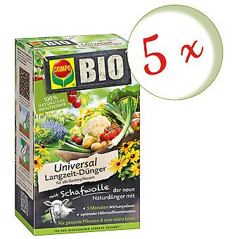 Sparset: 5 x COMPO BIO Universal long-term fertilizer with sheep wool, 4 kg