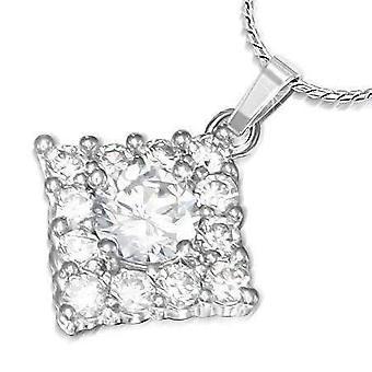 Jubilee cubic zirconia square pendant necklace