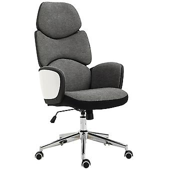 Vinsetto Modern Office Chair Ergonomic Thick Padding High Back Armrests Height Adjustable Rocking w/ 5 Wheels Swivel Home Office Grey White