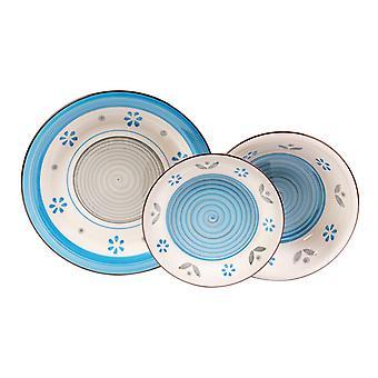 Piatti Spello Colore Bianco, Azzurro in Stoneware, Ogni Piatto Fondo L21xP21 cm, Ogni Piatto Piano L26xP26 cm, Ogni Piatto Frutta L19xP19 cm