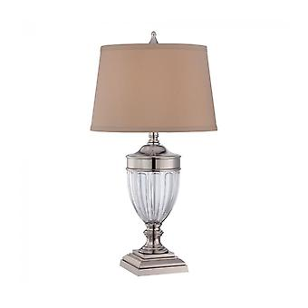 Dennison Lamp, Polished Nickel And Glass, With Tan Shade