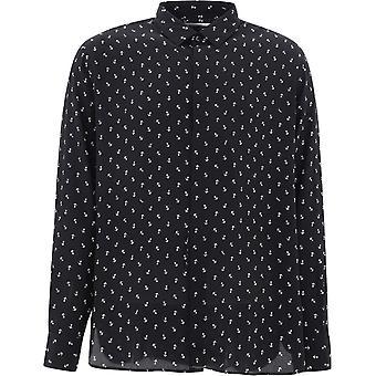Saint Laurent 564172y5b061095 Men's Black Silk Shirt