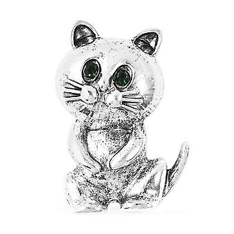 TJC Cat Brooch for Women Green Crystal in Silver Tone