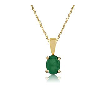 Classic Oval Emerald Pendant Necklace in 9ct Yellow Gold 27058