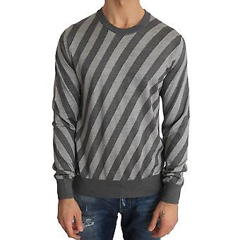 Dolce & Gabbana Gray Striped Silk Crew-Neck Pullover Sweater TSH2153-2