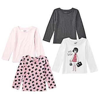 Brand - Spotted Zebra Girls' Big Kid 4-Pack Long-Sleeve T-Shirts, Glam...