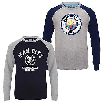 Manchester City FC Official Football Gift Kids Crest Long Sleeve Raglan T-Shirt